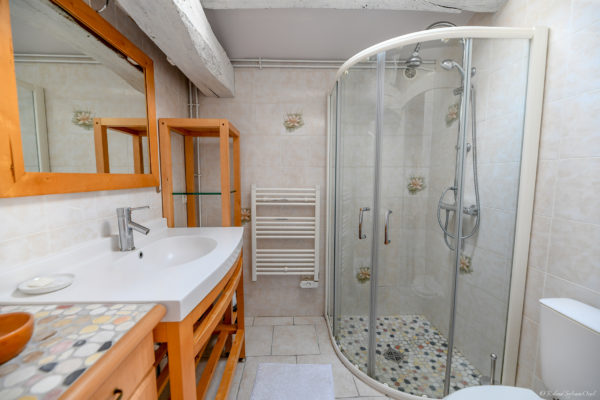 Salle d'eau avec wc intégré.